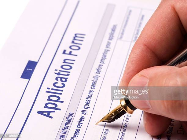 application form - college application stock photos and pictures