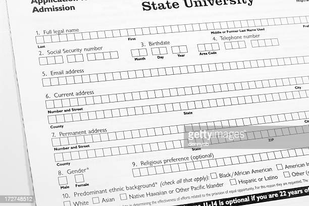application forms - college application stock photos and pictures