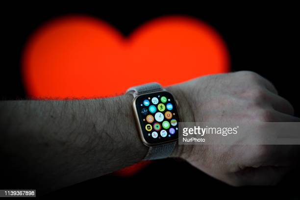 Applications are seen displayed on the home screen of an Apple Watch in this photo illustration in Warsaw, Poland on April 25, 2019.