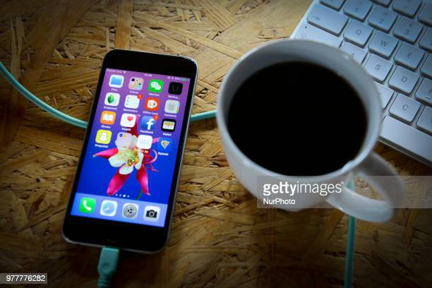 Applications are seen on the home screen of an Apple iPhone in this photo illustration on June 18 2018 in Warsaw Poland
