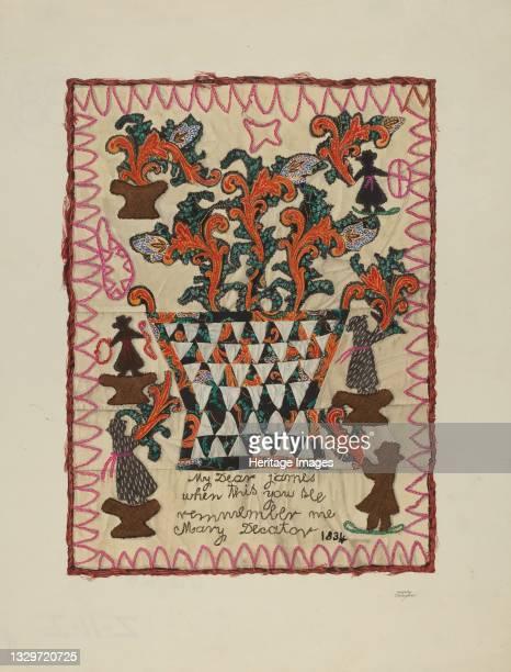 Applique Linen Panel, 1935/1942. Artist Beverly Chichester.