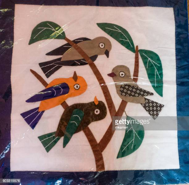 Appliqued cushion cover with birds, Cairo, Egypt