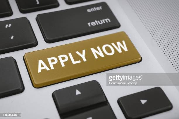 apply now on computer keyboard keys - application form stock pictures, royalty-free photos & images
