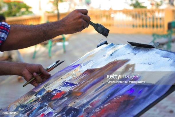Applying Paint strokes Abstract
