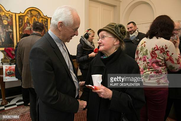 Appointed Archbishop Jozef De Kesel of MechelenBrussels meets people at a soup kitchen in Bruges Belgium on December 11 2015 Appointed Archbishop De...