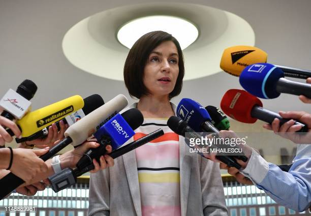 Appointed Prime Minister Maia Sandu adress to the media at the Parliament headquarters in Chisinau city June 10, 2019. - Moldova's acting president...