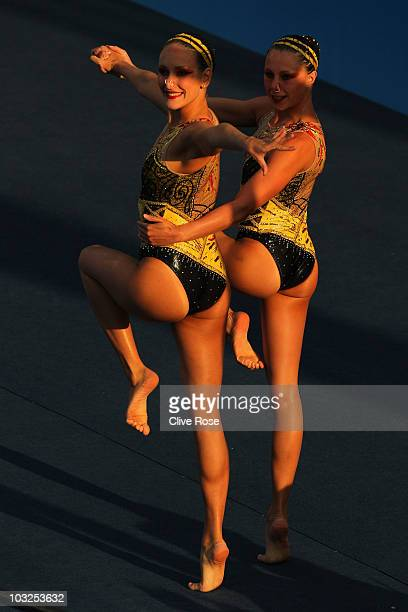 Appoline Dreyfus and Chloe Willhem of France compete in the Duet Free routine of the Syncronized Swimming during the European Swimming Championships...