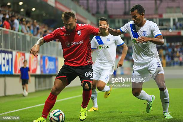 Appolon's footballer in action against Olexiy Antonov of Qabala during the UEFA European League third qualifying round 2nd league match between...