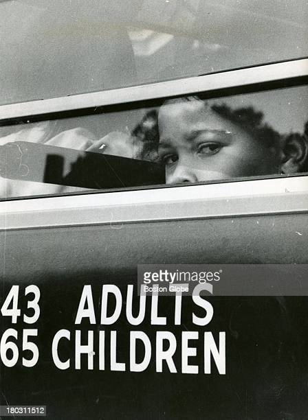 Apprehension was reflected in the face of the young girl on the bus for the first day of desegregation in Boston schools. Classes began for first- to...