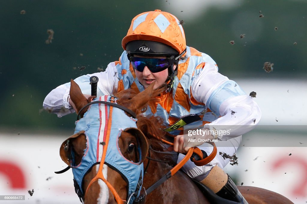 Apprentice jockey Gina Mangan in action, she will be riding in The Investec Epsom Derby at the weekend at Kempton racecourse on May 31, 2017 in Sunbury, England.