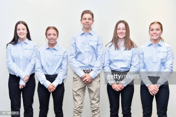 Apprentice Jockey Inductees Tayla Childs Tatum Bull Lohan McNeil Alana Kelly and Madison Lloyd at Racing Victoria on February 14 2018 in Flemington...