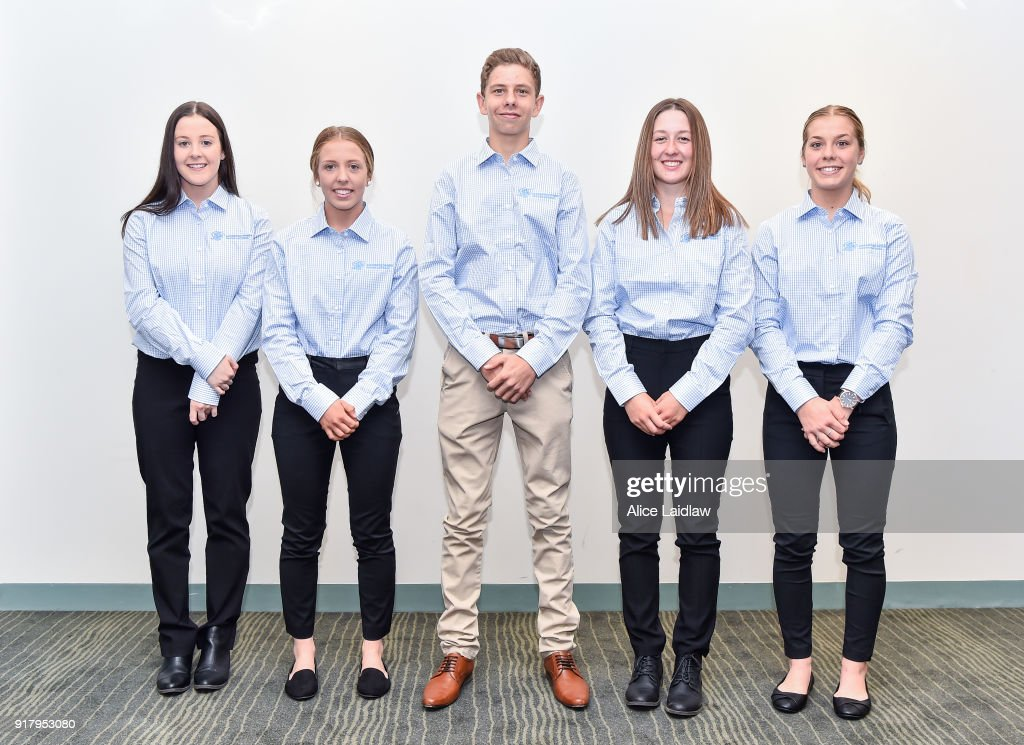 Apprentice Jockey Inductees Tayla Childs, Tatum Bull, Lohan McNeil, Alana Kelly and Madison Lloyd at Racing Victoria on February 14, 2018 in Flemington, Australia.
