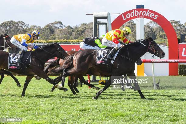 Connections of Moscow Red after winning the Le Pine Funerals Handicap at Ladbrokes Park Hillside Racecourse on August 15 2018 in Springvale Australia