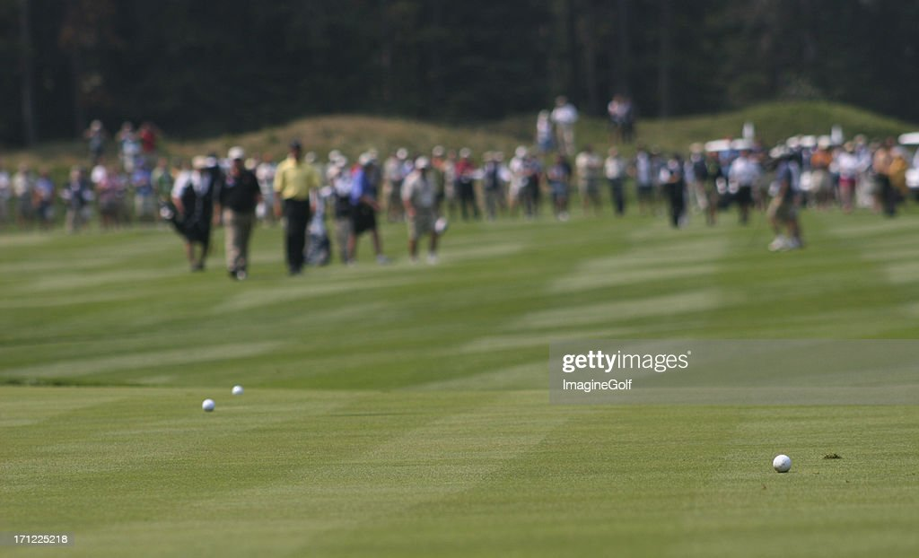 Approach Shots During A Professional Golf Tournament : Stock Photo