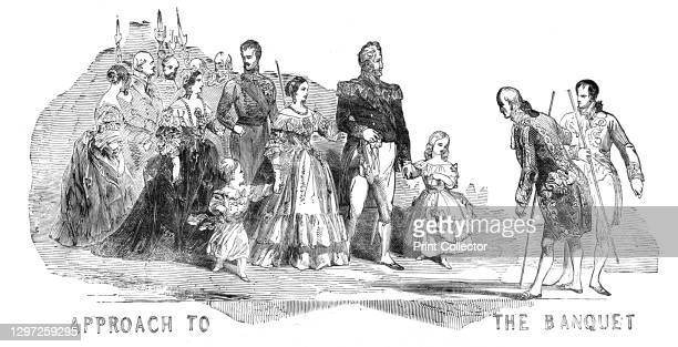 Approach to the Banquet, 1844. Louis Philippe, King of France is a guest of Queen Victoria at Windsor Castle. Here they take a walk in the grounds of...