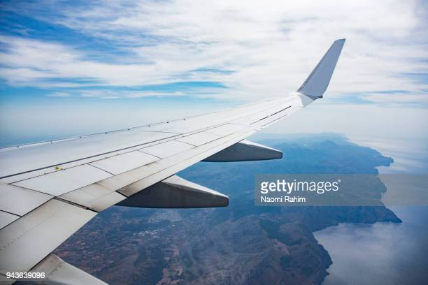 approaching majorca by air - aircraft wing stock pictures, royalty-free photos & images