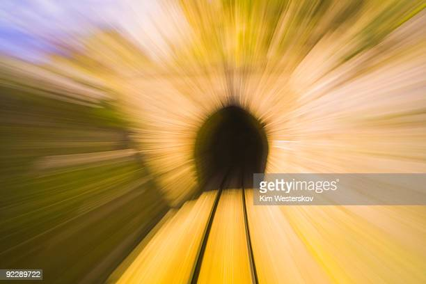 Approaching railway tunnel at speed