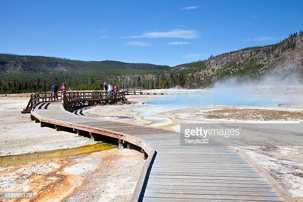 approaching sapphire pool, yellowstone national park in autumn - terryfic3d bildbanksfoton och bilder