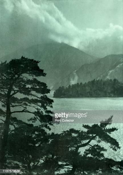"""Approaching Storm on Lake Motosu', 1910. From """"In Lotus-Land Japan"""", by Herbert G. Ponting, F.R.G.S. [Macmillan and Co., Limited, London, 1910]..."""