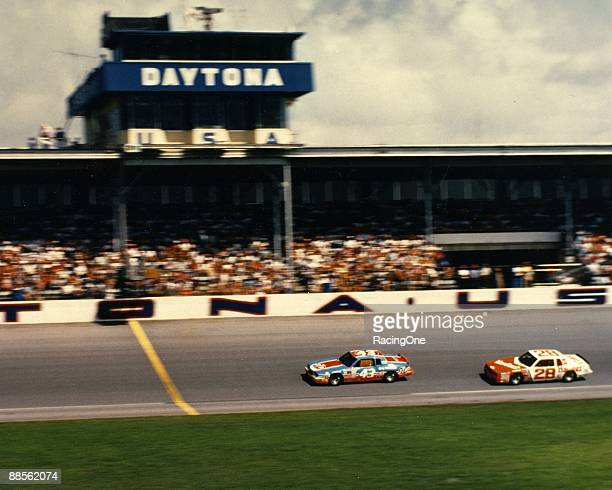 Approaching the finish line for the 1984 Firecracker 400 at Daytona. Richard Petty beat Cale Yarborough to claim his 200th career win.