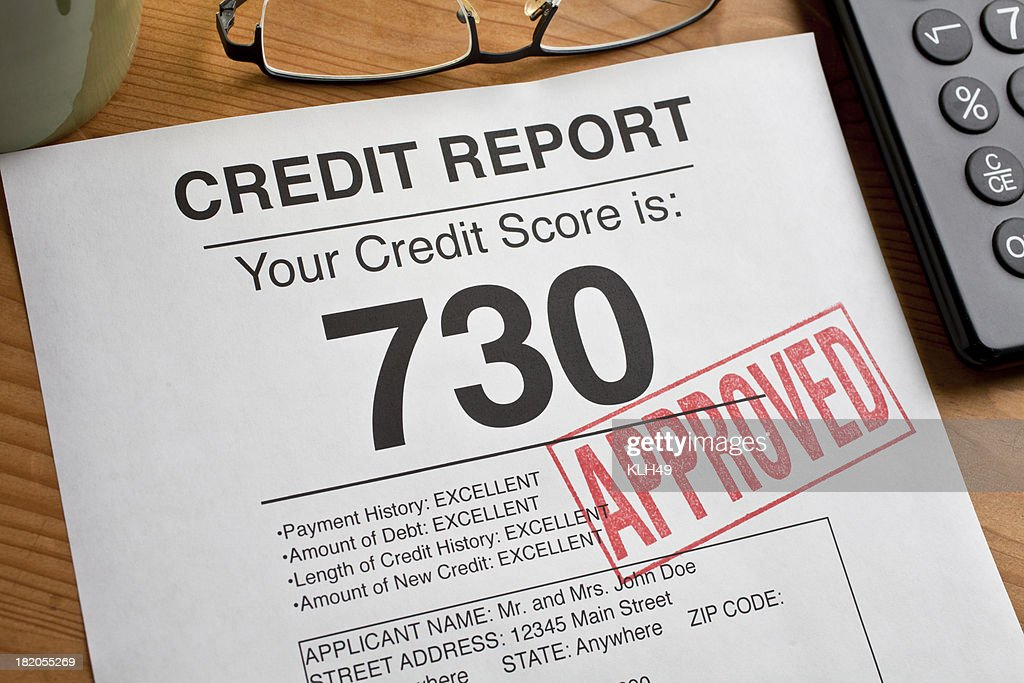 Approved Credit Score form on a desk. : Stock Photo