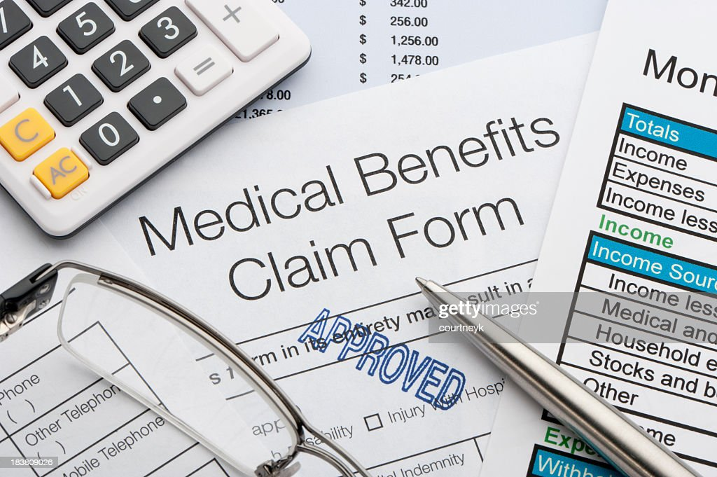 Approved Medical benefits claim form : Stock Photo