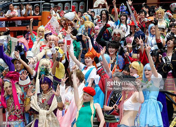 Approximately 1000 cosplayers from 26 countries march on the Osu Shopping Street as a part of the World Cosplay Summit 2015 on August 2 2015 in...