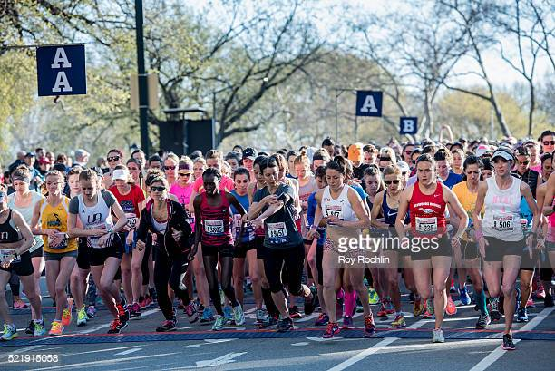 Approximately 10,000 female runners participate in the 13th annual MORE/SHAPE Women's Half-Marathon at Central Park on April 17, 2016 in New York...