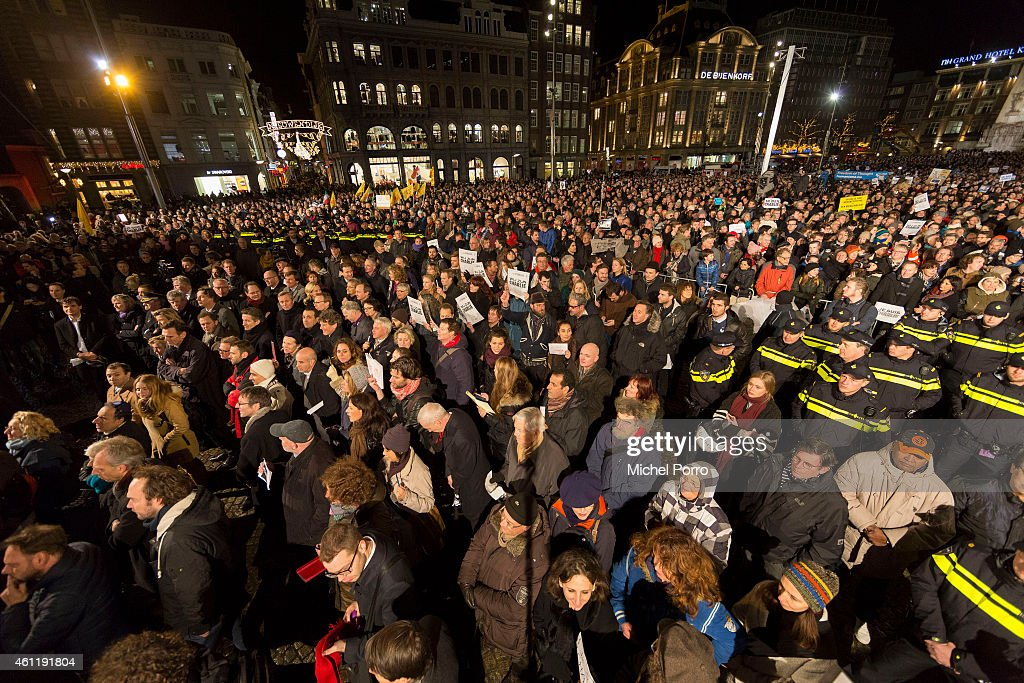 Approximately 18.000 people gather in support of the victims after the terrorist attack in Paris on January 8, 2015 in Amsterdam, Netherlands. Twelve people were killed, including two police officers, as two gunmen opened fire at the offices of the French satirical publication Charlie Hebdo.