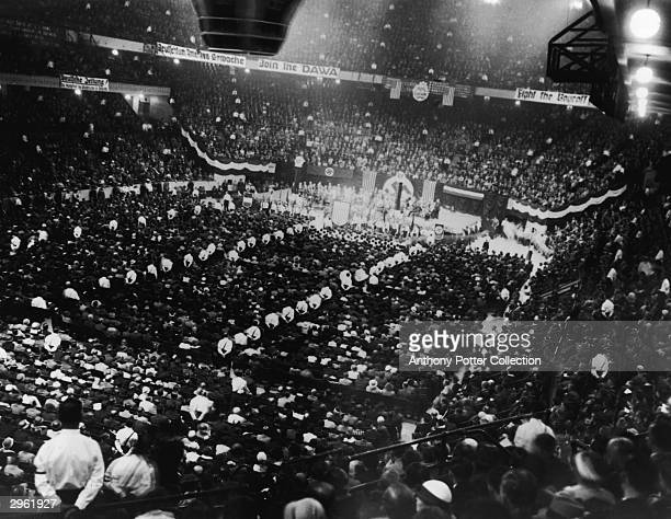 Approximately 20 000 people attend a proNazi Germany rally at Madison Square Garden to support Adolf Hitler New York New York May 18 1934 Outside the...