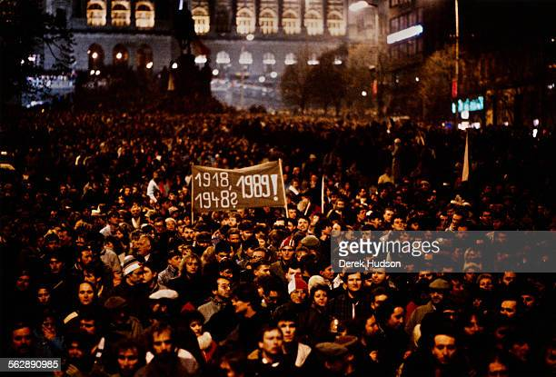 Approximately 200,000 people demonstrate in downtown Prague to call for greater liberty and the resignation of General Secretary of the Communist...