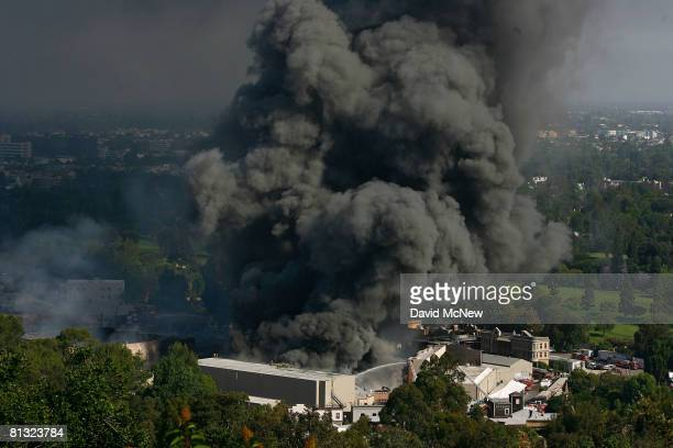 Approximately 300 firefighters battle a huge fire on the backlot of Universal Studios on June 1 2008 in Universal City California The fire is...