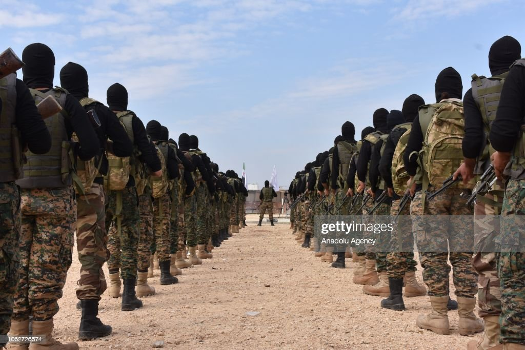 Military training of Free Syrian Army Members in Syria's Azaz : News Photo
