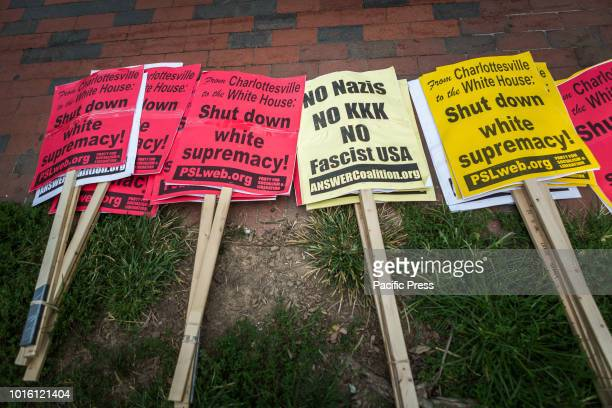 Approximately two dozen demonstrators held a white civil rights rally on the anniversary of last year's Unite the Right protest in Charlottesville...