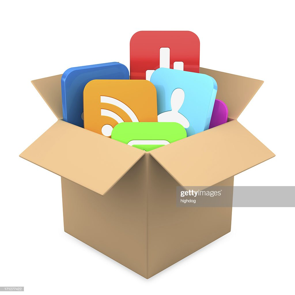 Apps inside present  box : Stock Photo