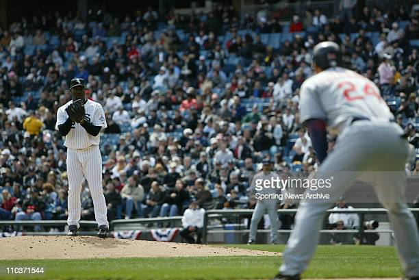 Apr 05 2006 Chicago IL USA The Cleveland Indians GRADY SIZEMORE against the Chicago White Sox JOSE CONTRERAS as they celebrate their World Series...