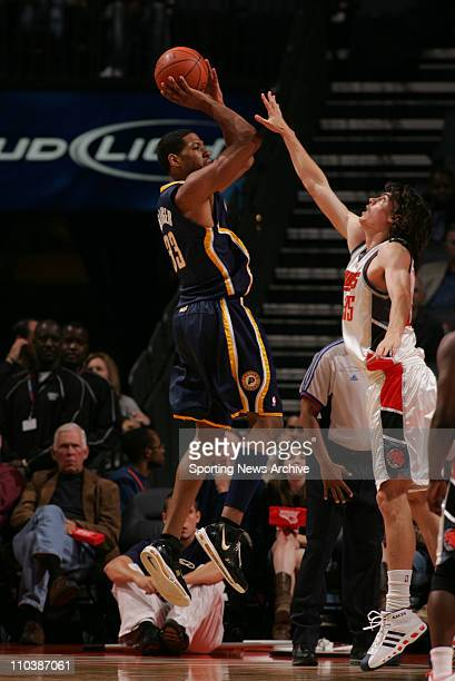 Apr 06 2007 Charlotte NC USA Indiana Pacers DANNY GRANGER against the Charlotte Bobcats ADAM MORRISON at the Charlotte Bobcats Arena The Pacers won...