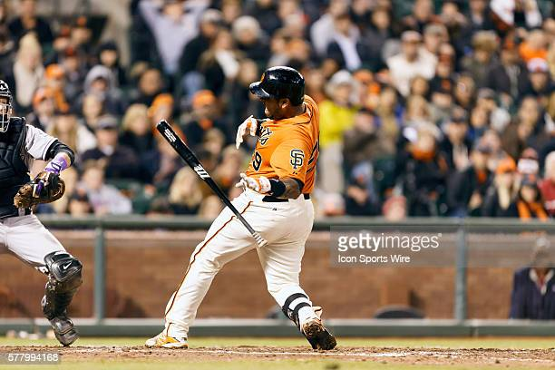 San Francisco Giants Catcher Hector Sanchez caught on the hand by a pitch during the MLB game between the SF Giants and the Colorado Rockies at ATT...