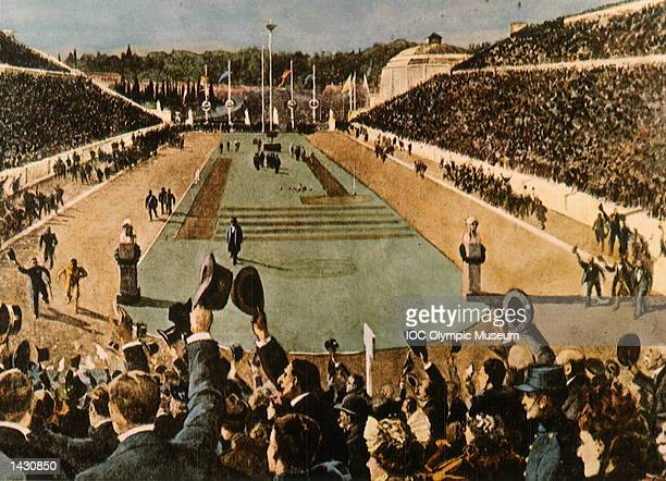 Painting shows Spiridon Louis of Greece winning the first Olympic marathon in 1896. It was the culmination of a triumph for the Greek hosts that one...