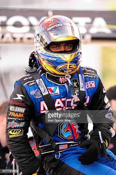 Antron Brown Matco Tools NHRA Top Fuel Dragster driver in closed testing on The Strip at Las Vegas Motor Speedway in Las Vegas Nevada