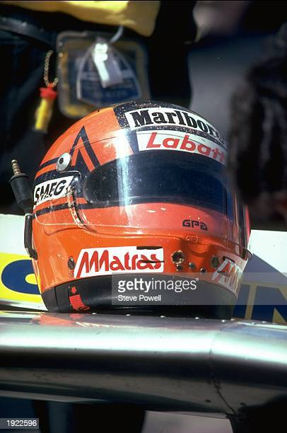 General view of the helmet belonging to Scuderia Ferrari driver Gilles Villeneuve of Canada Mandatory Credit Steve Powell/Allsport