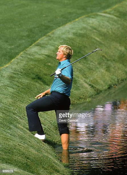 Jack Nicklaus of the USA plays from the edge of the water during the US Masters at the Augusta National GC in Augusta Georgia USA Mandatory Credit...