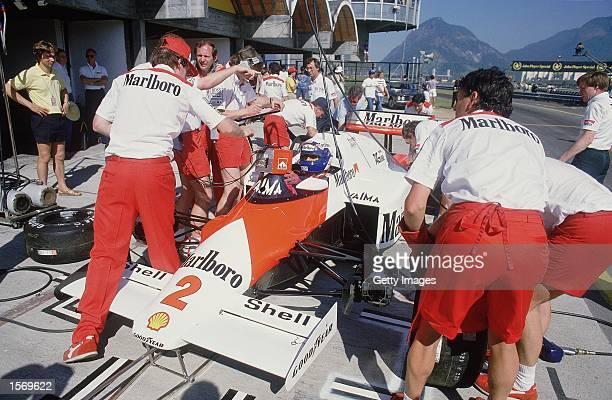 MarlboroMcLaren driver Alain Prost of France in a pit stop during the Brazilian Formula One Grand Prix held in Rio De Janeiro Brazil Mandatory Credit...