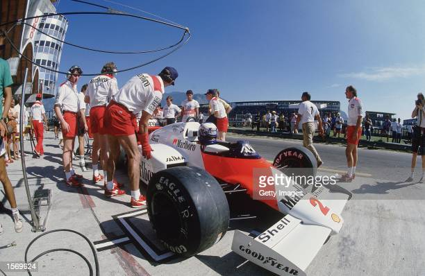 MarlboroMcLaren driver Alain Prost of France in a pit stop during the Brazilian Formula One Grand Prix held in Rio De Janeiro Brazil Picture taken by...