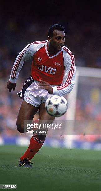David Rocastle of Arsenal runs with the ball during the Barclays League Division One match against Newcastle United played at Highbury in London...