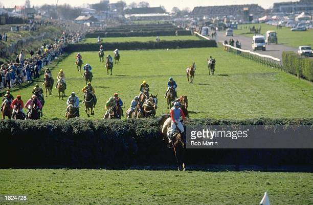 Jimmy Frost on Little Polveir jumps a fence and leads the field during the Grand National at Aintree racecourse in Liverpool England Mandatory Credit...