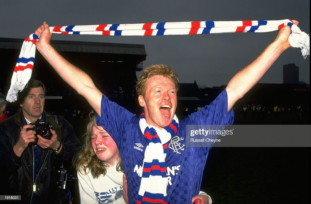 Mo Johnston of Rangers celebrates victory after the Premier league match against Dundee : News Photo
