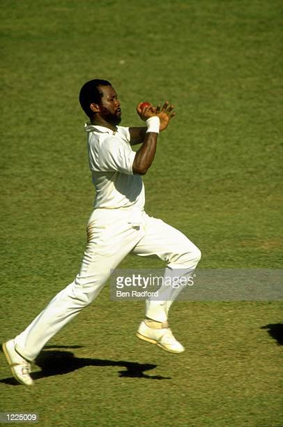Malcolm Marshall of the West Indies in action during the Third Test match against Australia at Queen's Park Oval in Port-of-Spain, Trinidad. The...