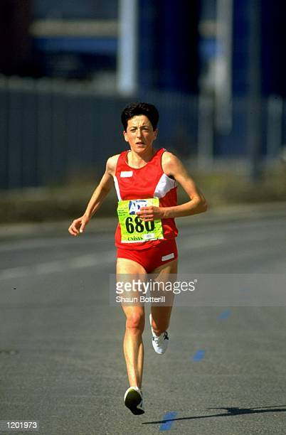 Rosa Mota of Portugal in action during the ADT London Marathon Mota finished in first place with a time of 22614 hours Mandatory Credit Shaun...