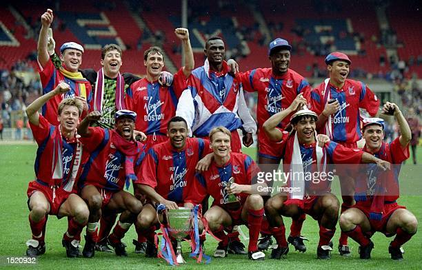 The Crystal Palace team celebrate after their victory in the Zenith Data Cup final against Everton at Wembley Stadium in London Crystal Palace won...